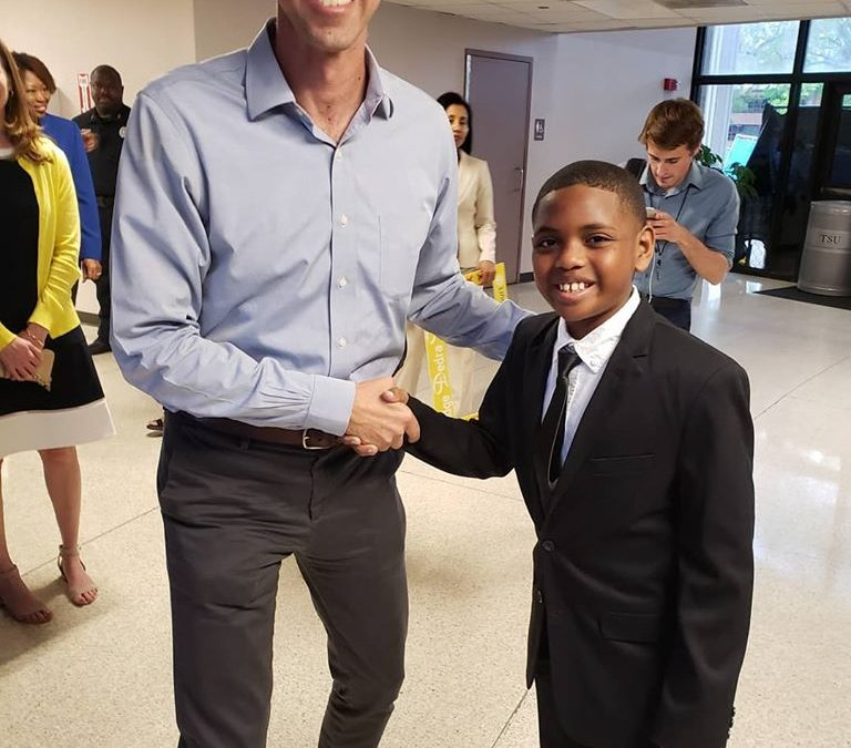 Bailey said the Pledge of Allegiance at the Beto O'Rourke rally